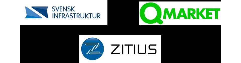 En bild med tre logotyper från Svensk Infrastruktur, Qmarket och Zitius