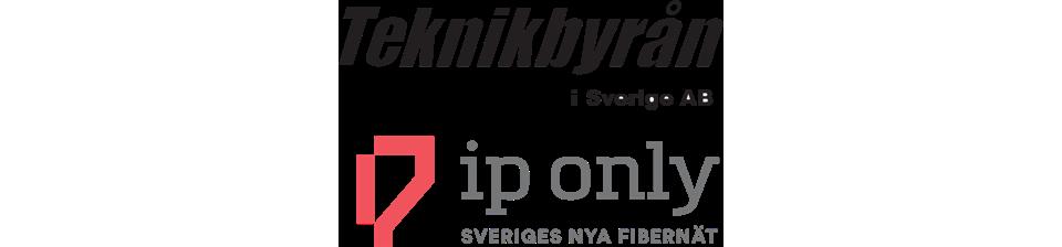 En bild med två logotyper från Teknikbyrån och IP-Only