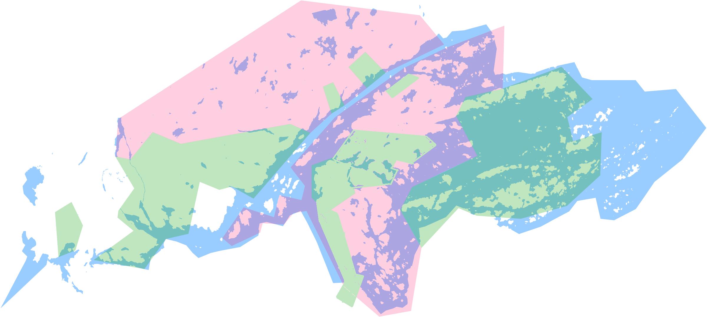 Karta över områden som har blivit behandlade samt är planerade att behandlas av ÖSAB